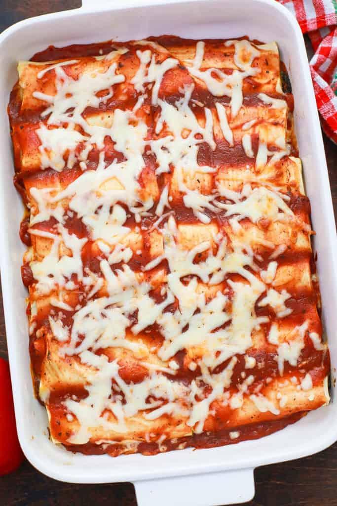 lasagna rolls in a baking dish