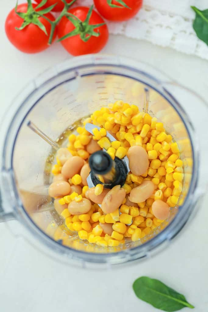 corn and beans in a food processor