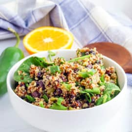 southwestern quinoa salad in a white bowl