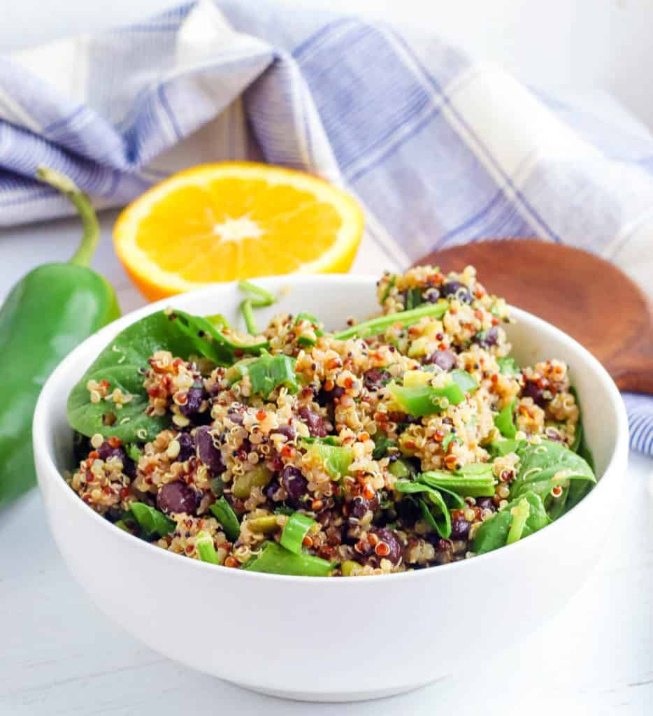 southwestern quinoa salad in a white bowl