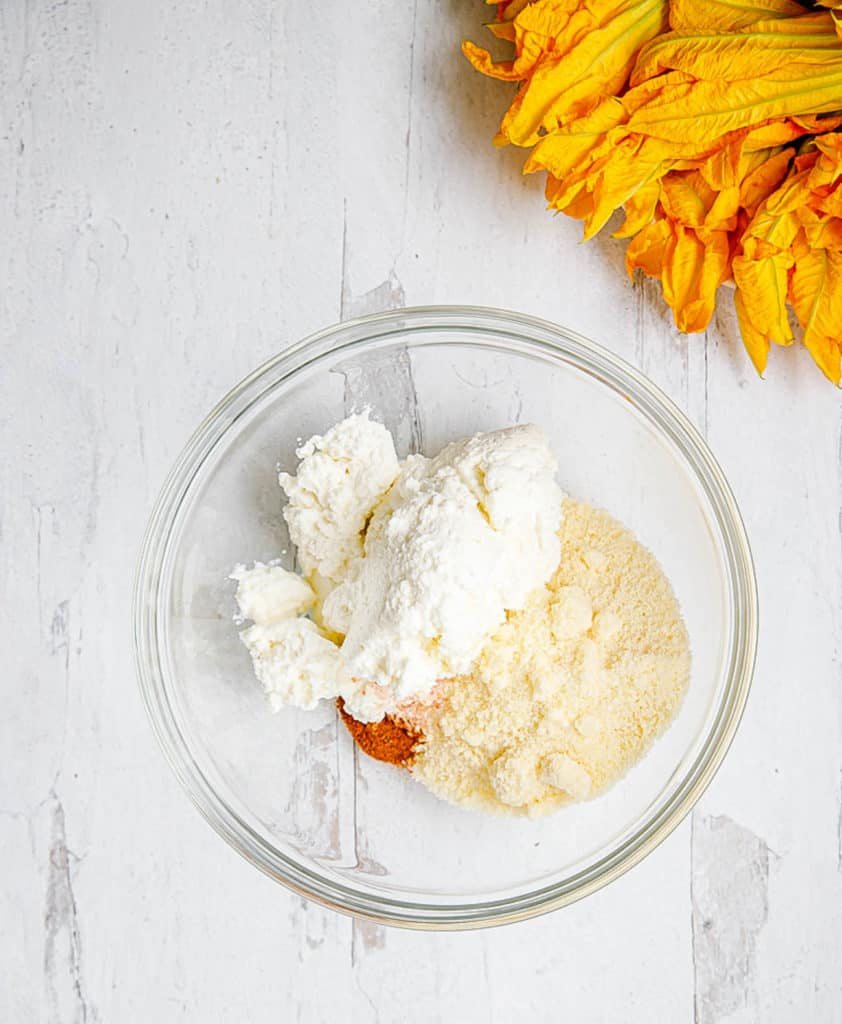 ricotta cheese mixture in a mixing bowl
