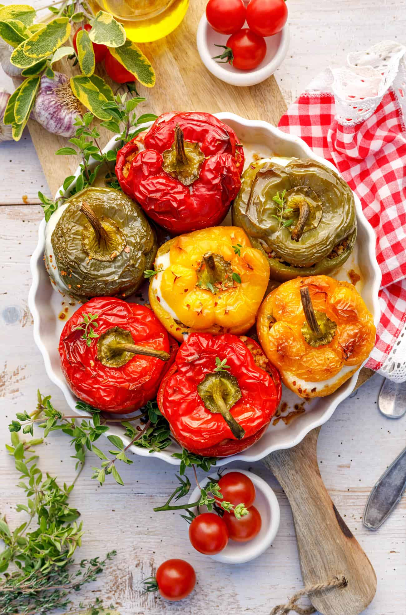 taco stuffed peppers on a white plate