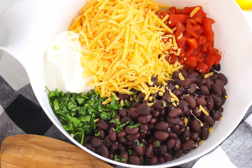 stuffing ingredients in a mixing bowl