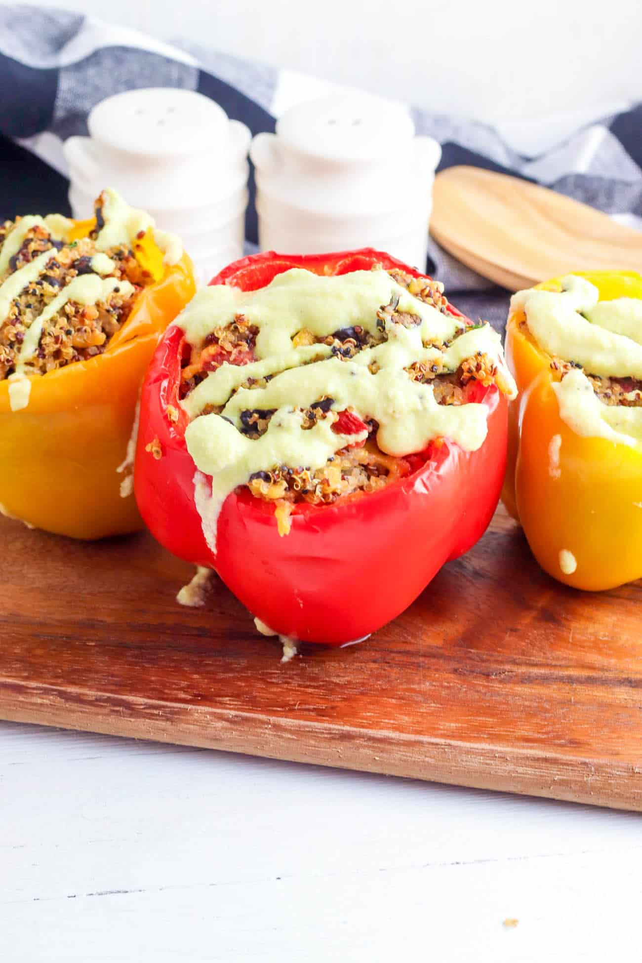 taco stuffed peppers with avocado lime sauce