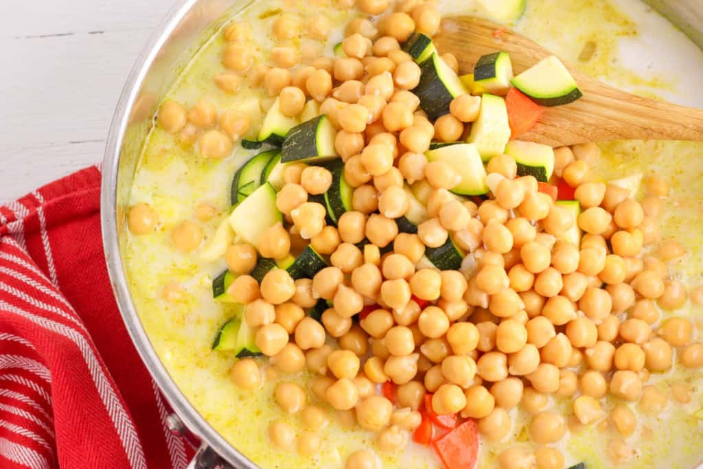 chickpeas added to pan