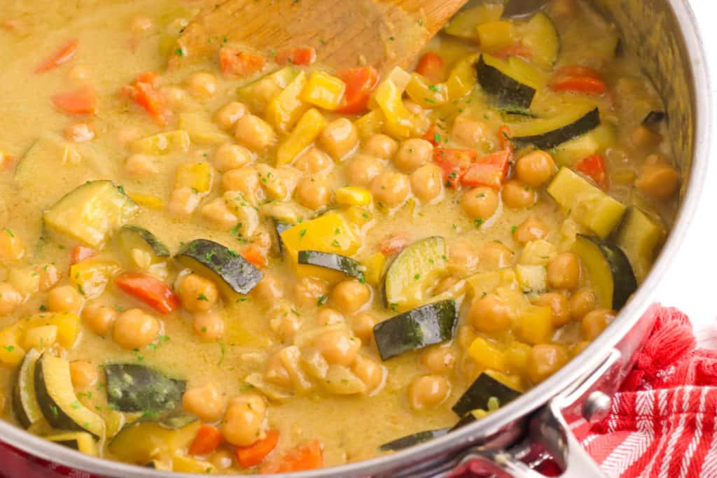 peanut butter curry in a large pan