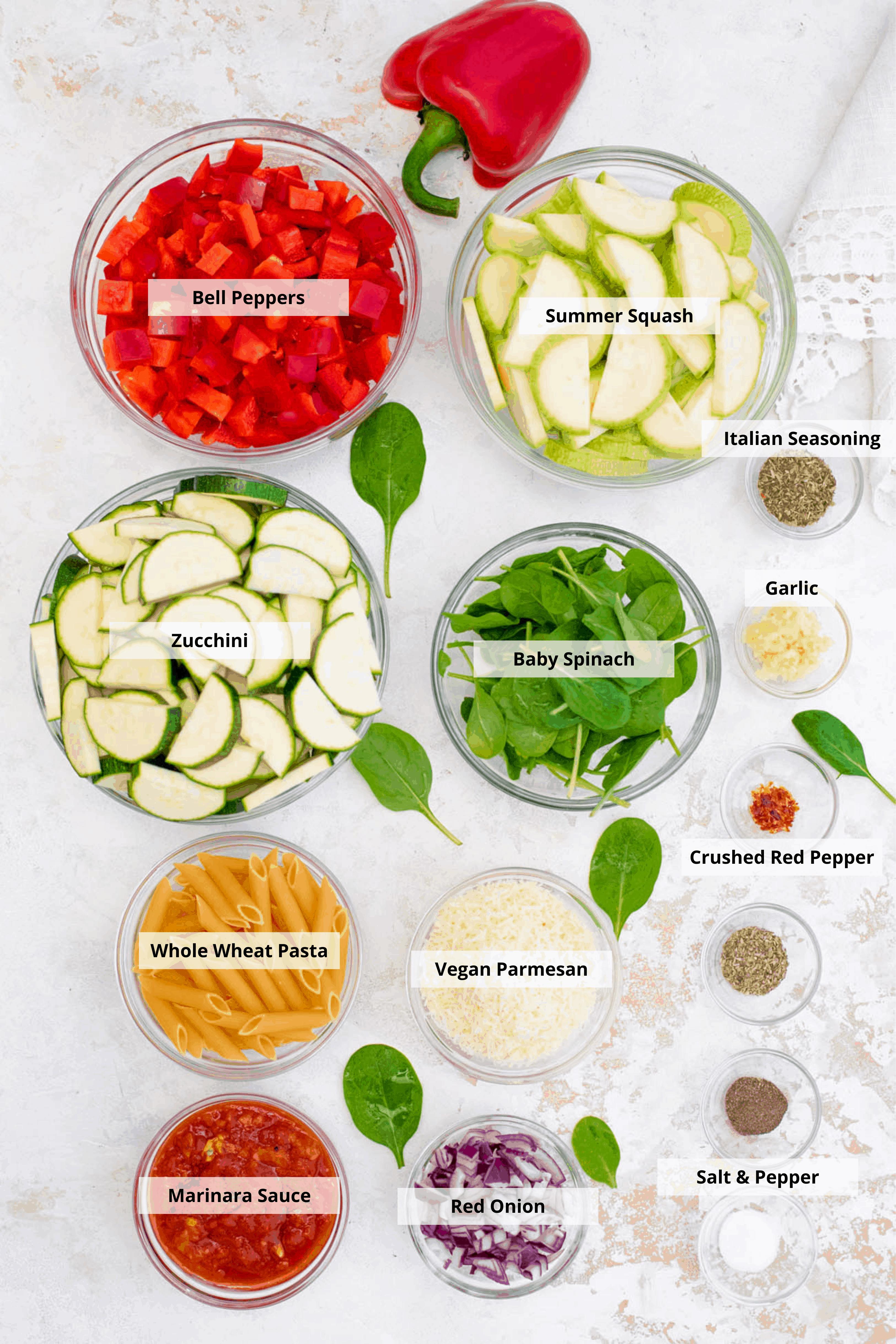 ingredients for vegan pasta primavera
