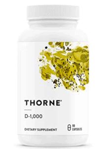 bottle of Thorne vitamin D supplements