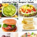 collage of 4th of july recipes: dips, burgers, desserts