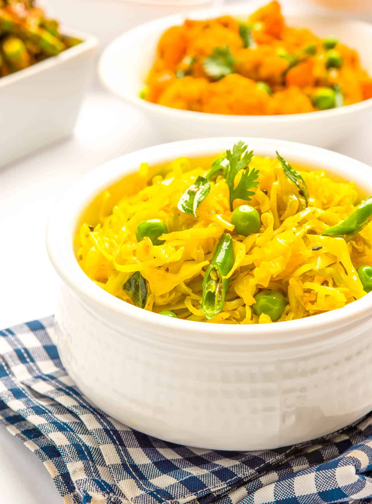 Indian Cabbage or cabbage sabzi served in a white bowl
