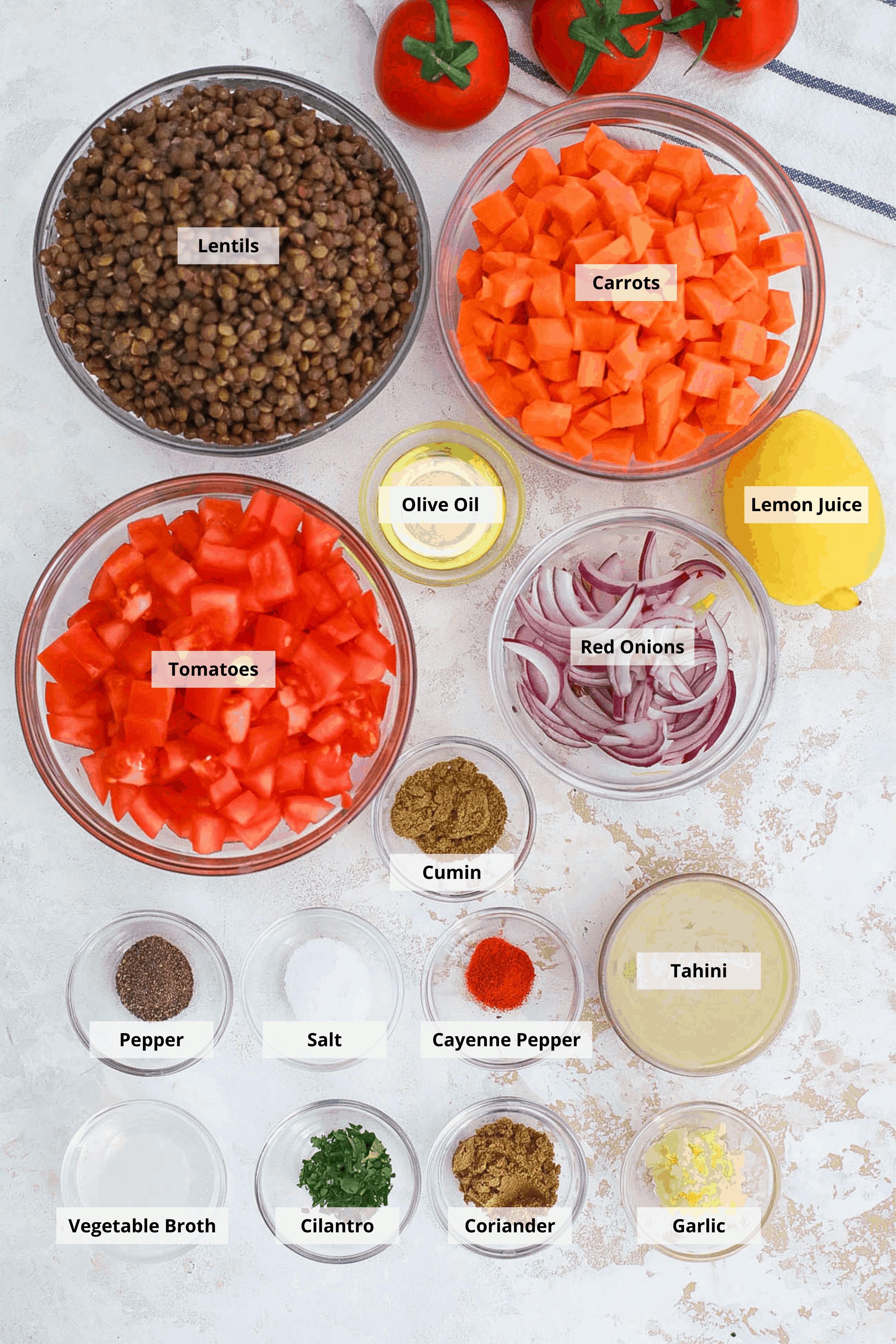 Instant Pot Lentils - ingredients