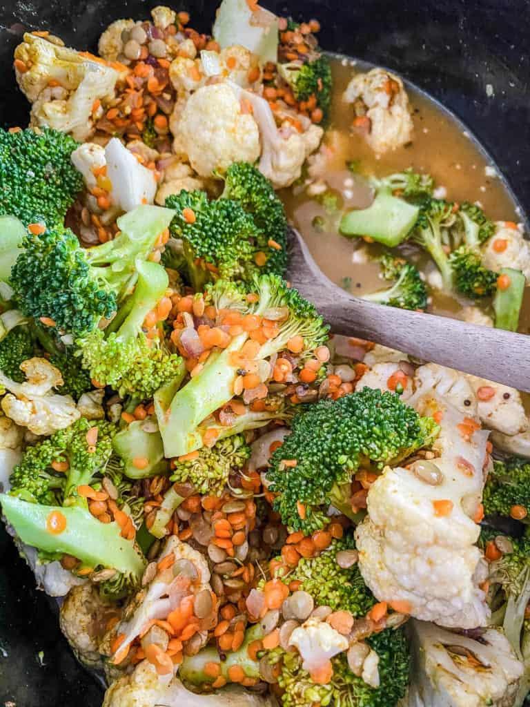 broccoli and cauliflower added to pot