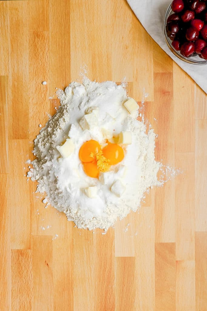 eggs added to flour
