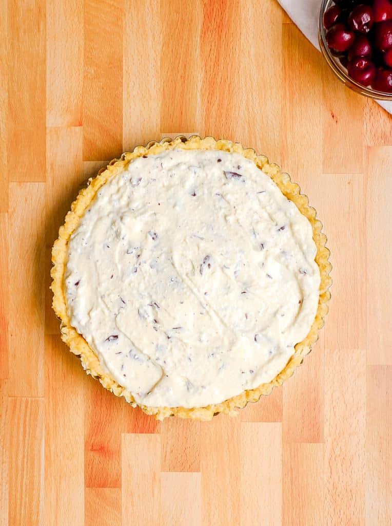 ricotta mixture added to pie crust