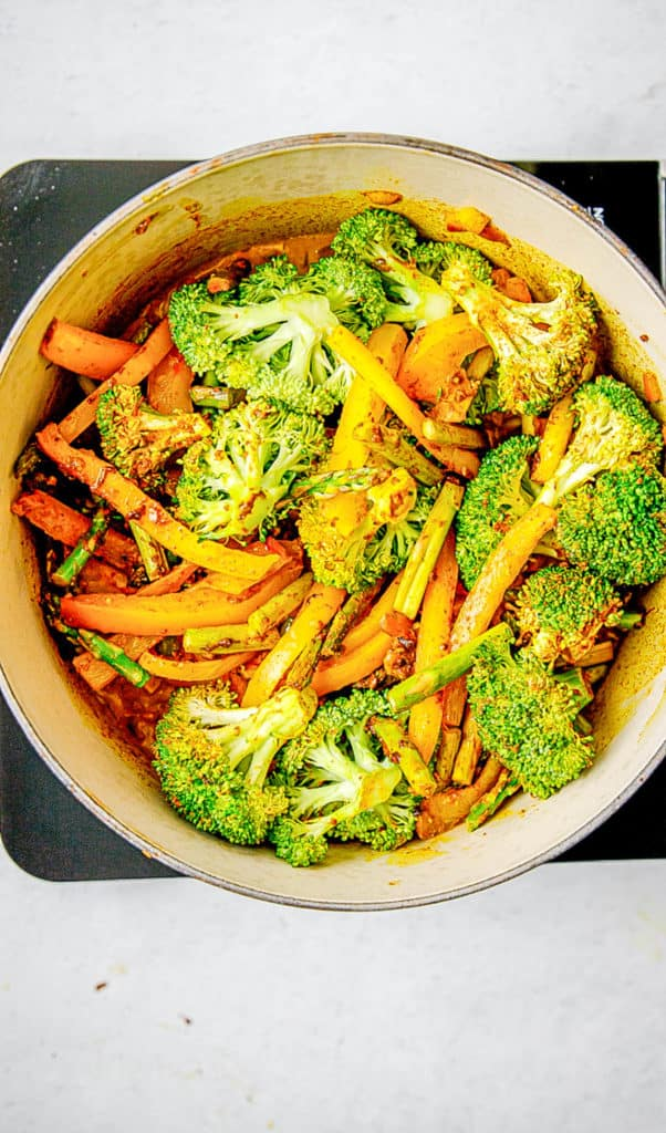 veggies cooking in a pot