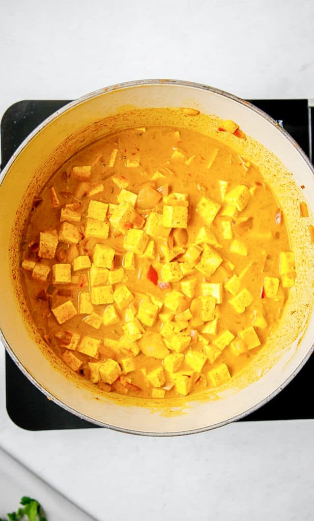tofu and coconut milk and spices cooking in a pot