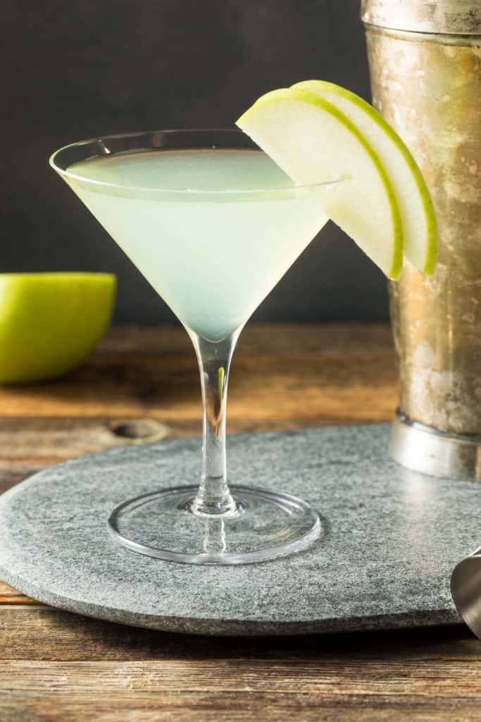 Boozy Refreshing Appletini Cocktail with Vodka and Garnish - foods that start with a