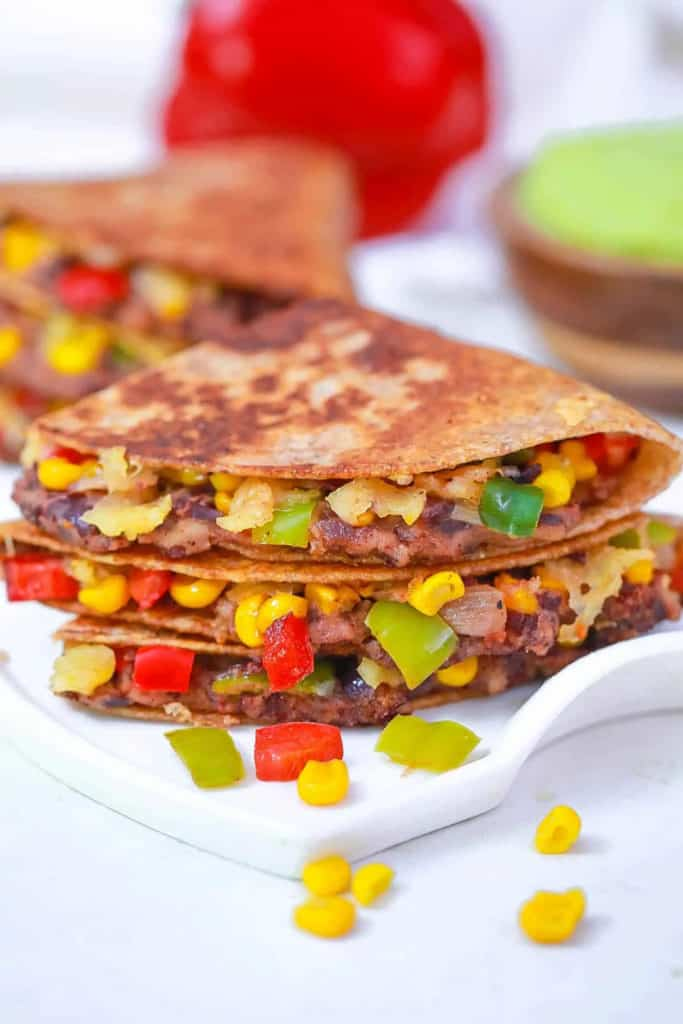 Front view of quesadillas