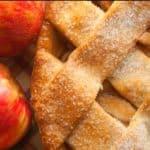 close up of lattice apple pie