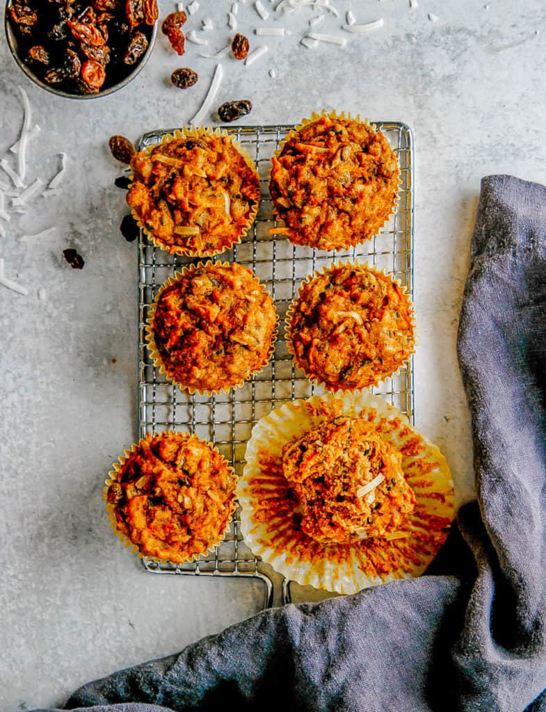healthy apple muffins on a wire rack