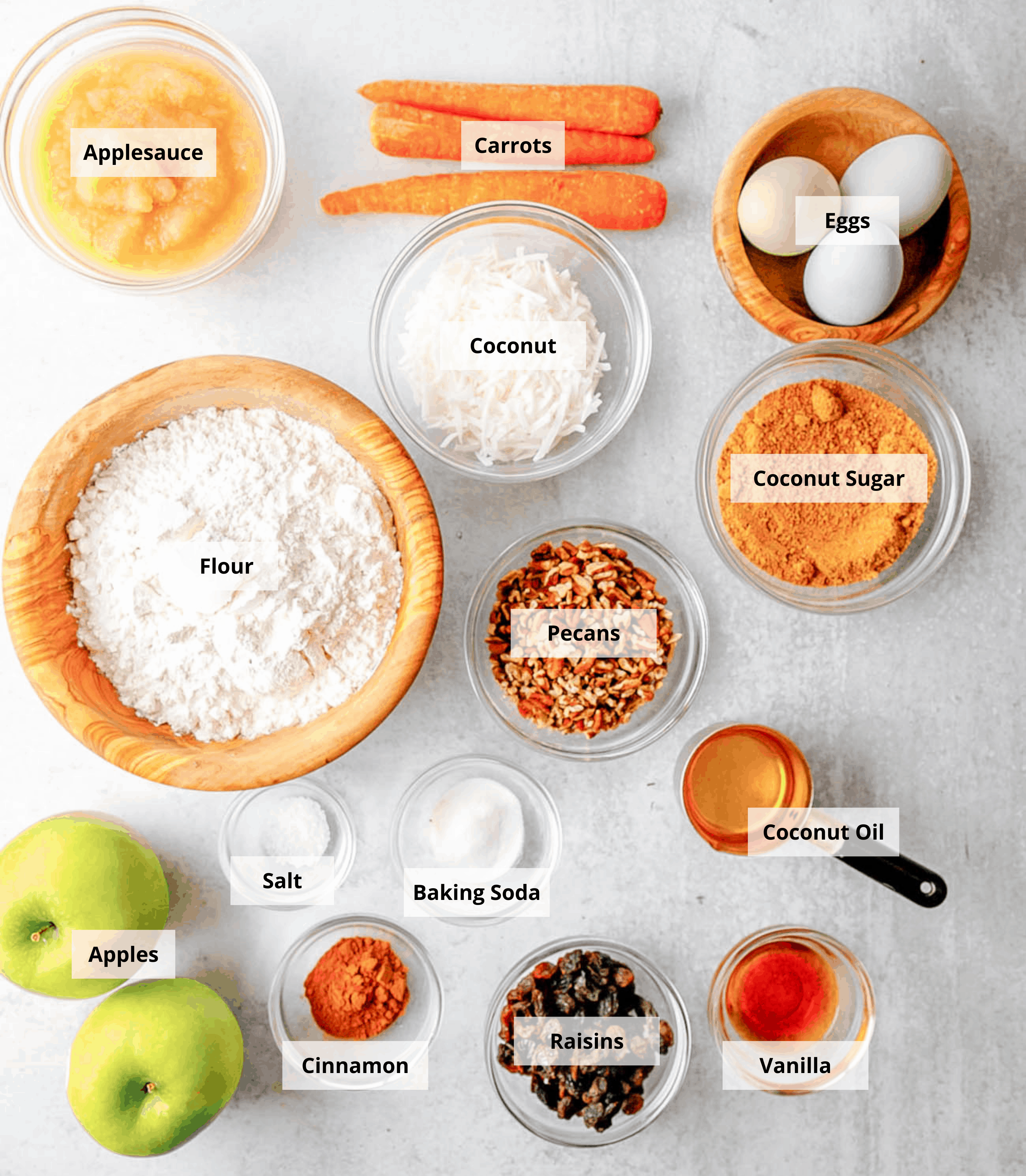 ingredients for healthy apple muffins