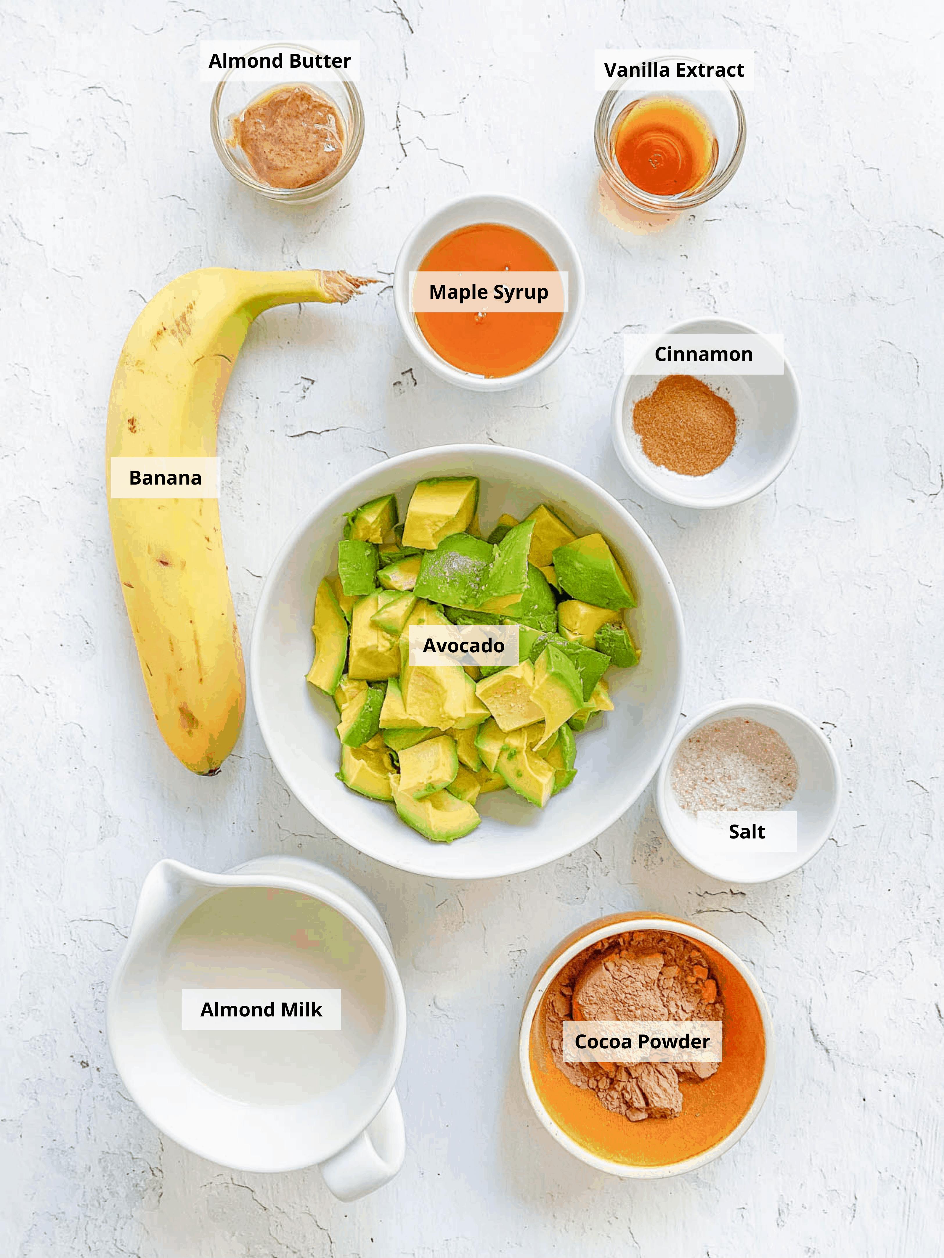 recipe ingredients - banana avocado cocoa powder almond milk maple syrup spices vanilla almond butter