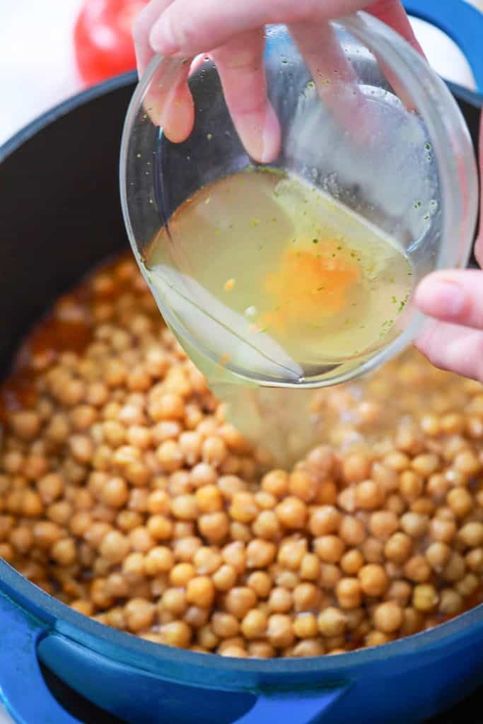 chickpeas cooking in a pot