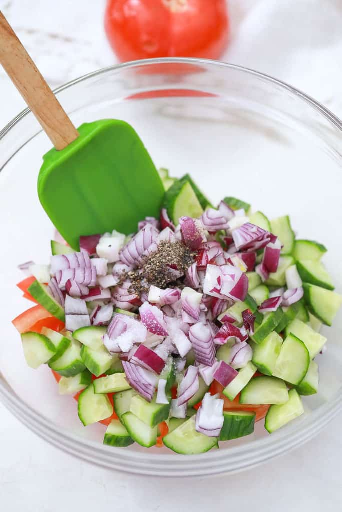 ingredients for cucumber relish in a bowl