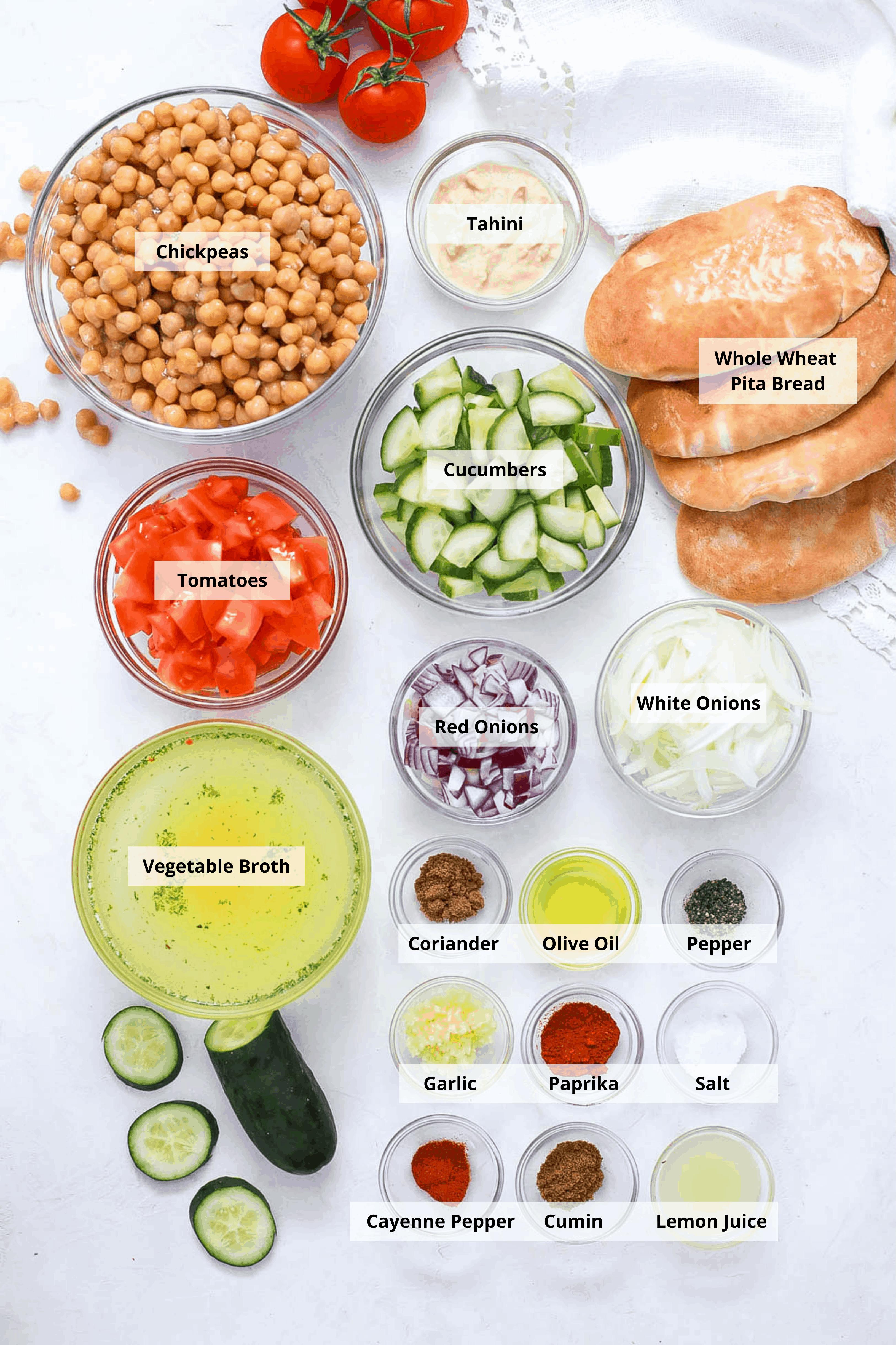 ingredients for healthy vegetarian greek nachos