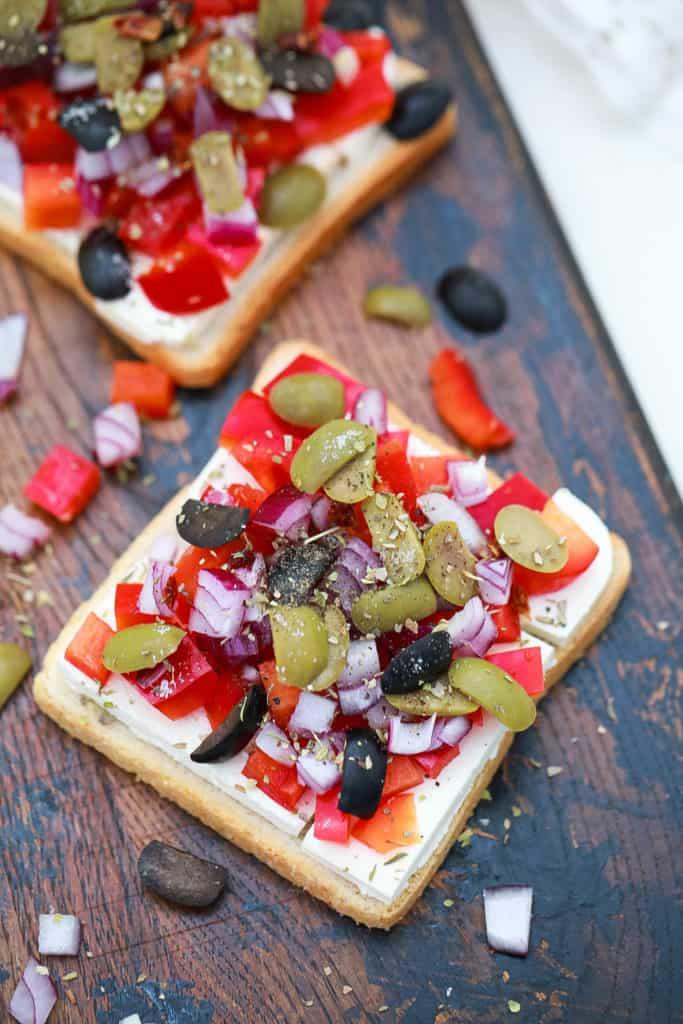 veggies on a slice of bread