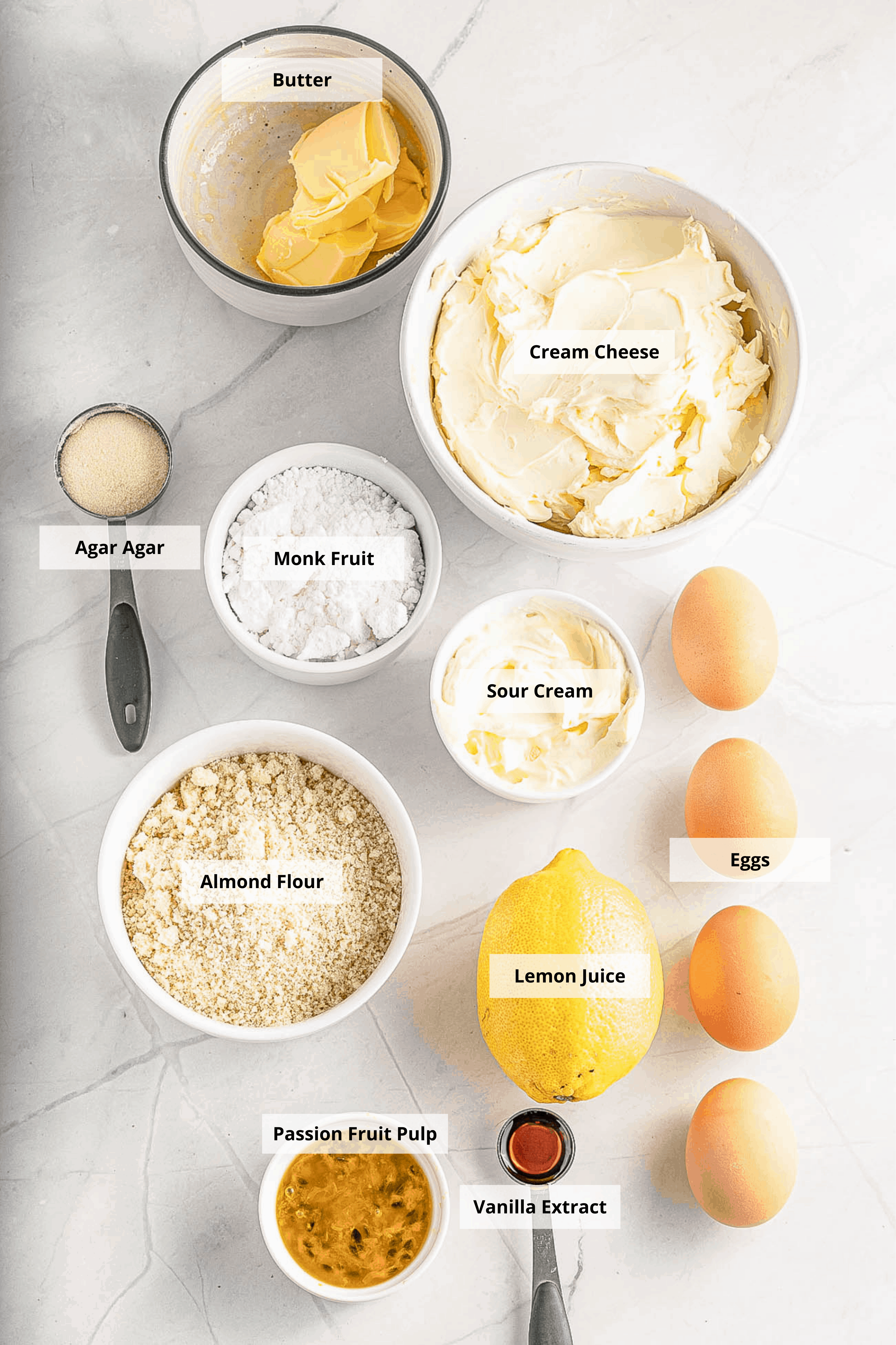 ingredients for passionfruit cheesecake