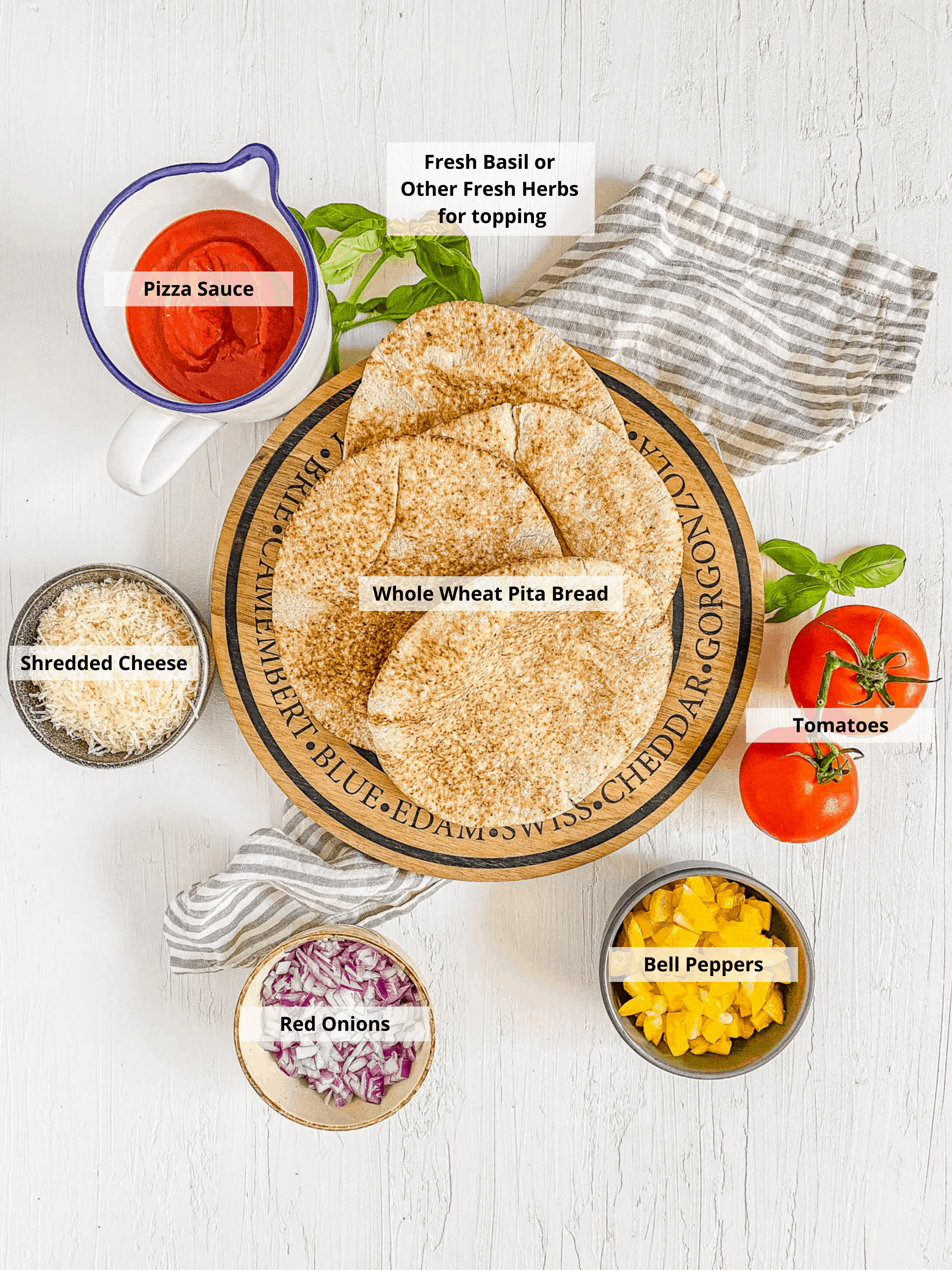 ingredients for pita pizza