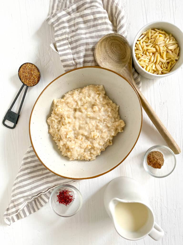 cooked oats in a bowl