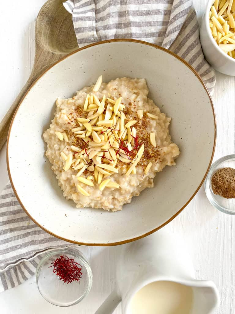 almonds and spices added to oats