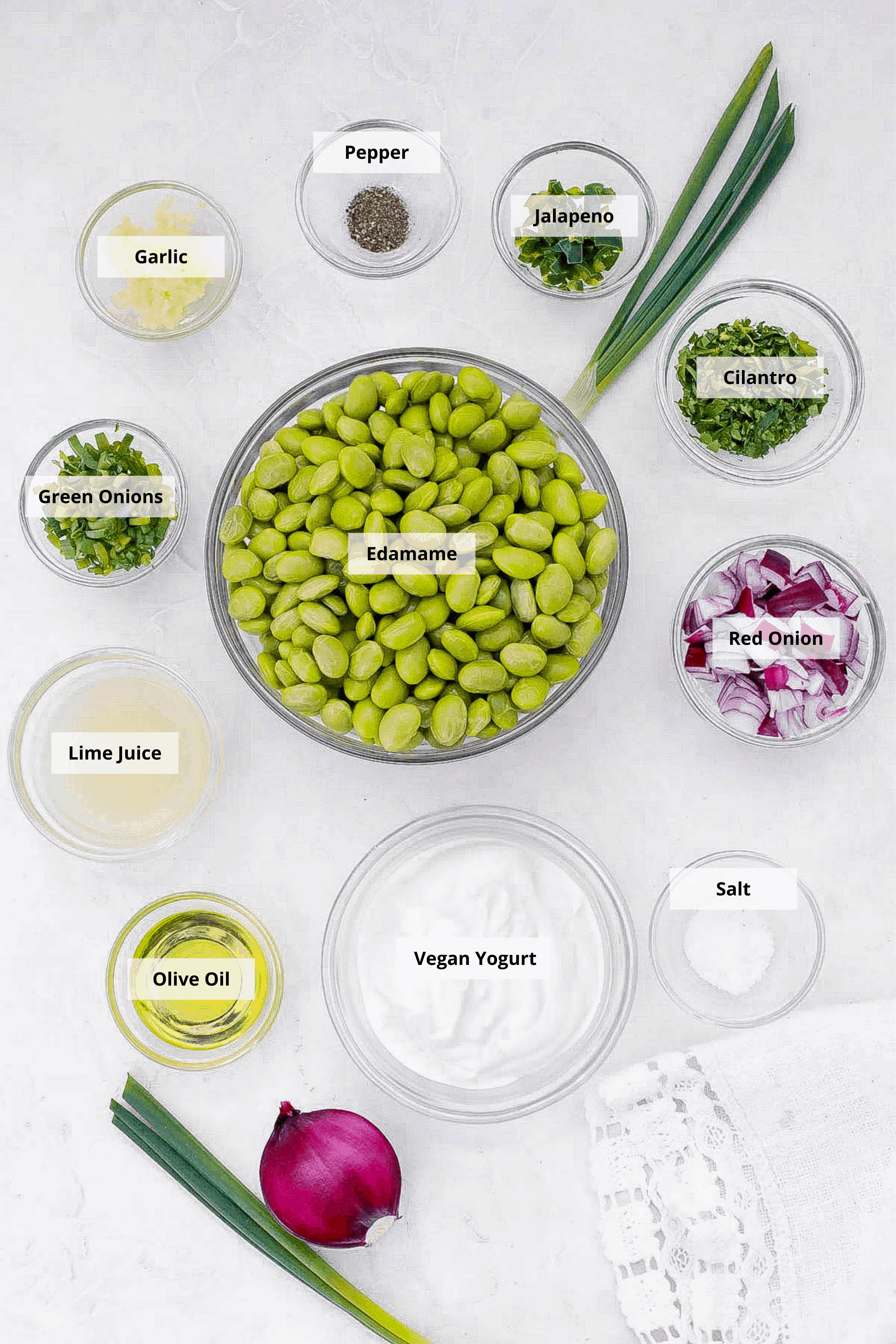 ingredients for vegan guacamole