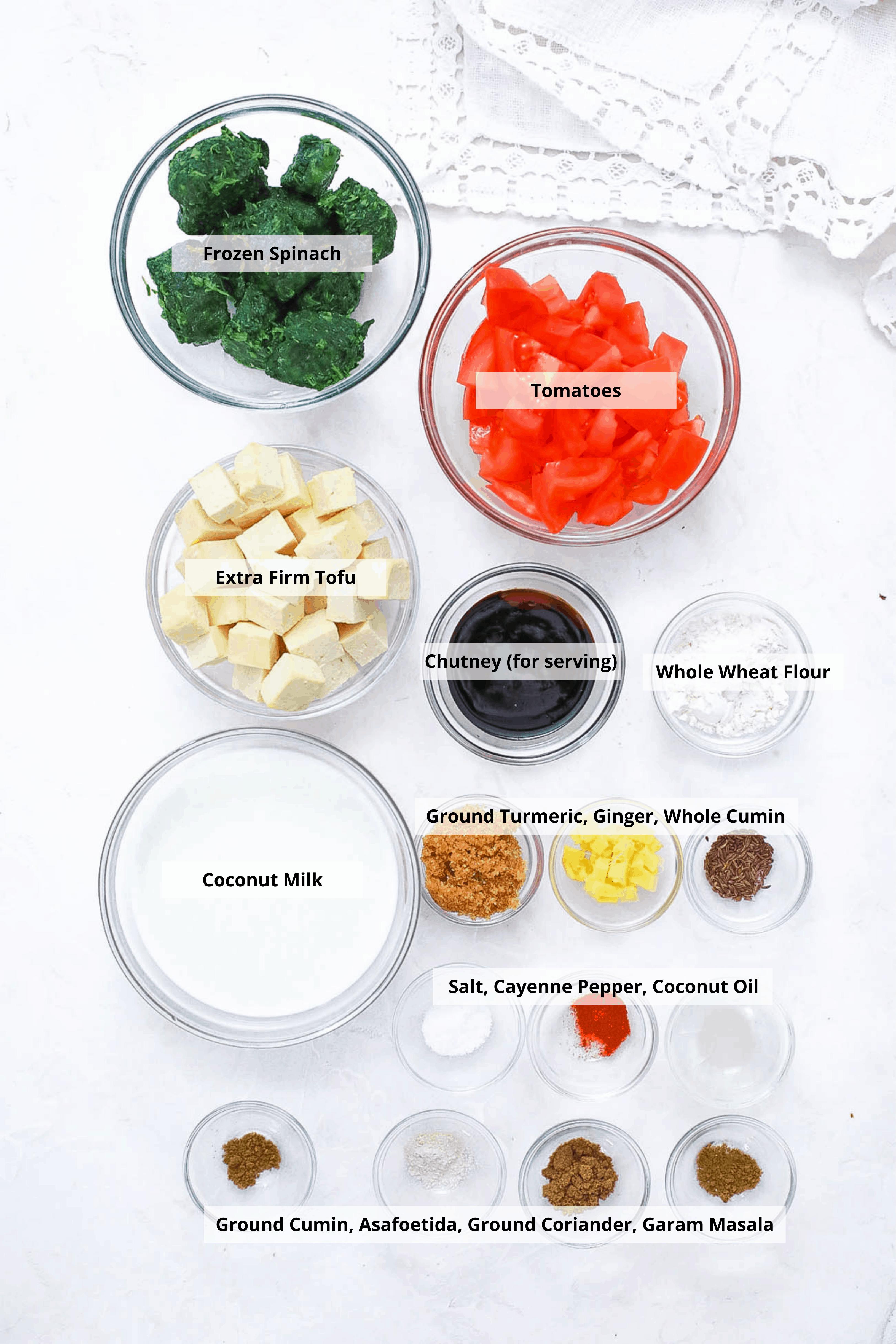 vegan palak paneer ingredients