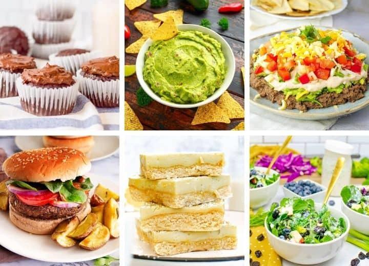 vegetarian 4th of July recipes: chocolate cupcakes, guacamole, 7 layer dip, black bean burger, lemon bars, superfood salad