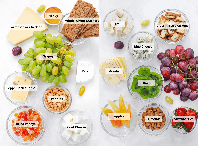 vegetarian cheese board ingredients