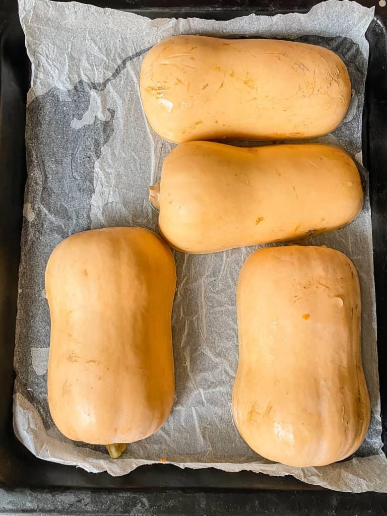 roasted squash on baking sheet