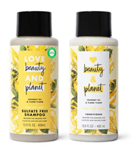 Love, Beauty, and Planet Shampoo and conditioner set.