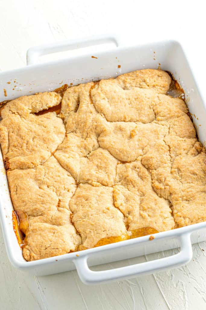 vegan peach cobbler fresh out of the oven