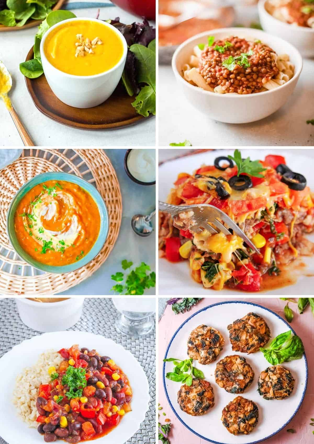 Baby dinner recipes collage: butternut squash soup, lentil bolognese, carrot soup, taco casserole, vegetarian chili, potato fritters.