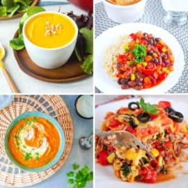 Baby dinner recipes collage: butternut squash soup, vegan chili, carrot soup, taco casserole.