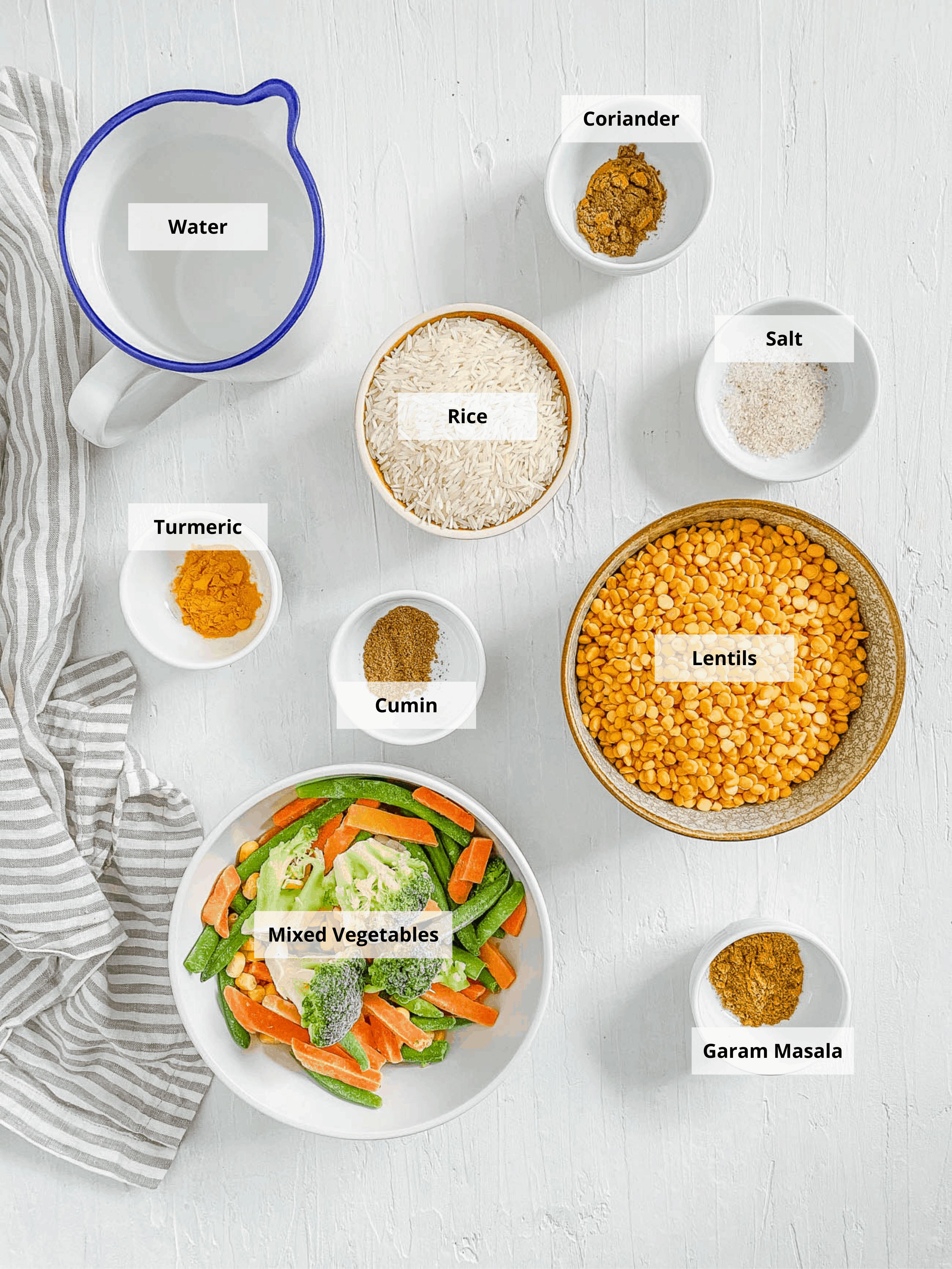 ingredients for Baby Lentil Recipe: Veggie Lentil Baby Puree