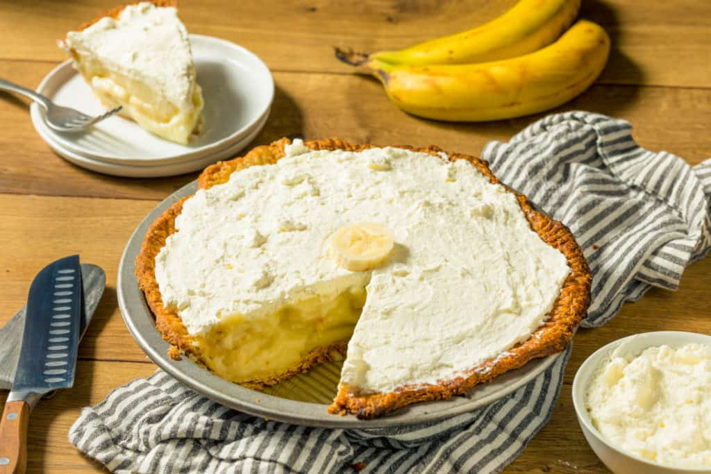 Homemade Sweet Banana Cream Pie Ready to Eat