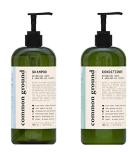 Set of Common Grounds shampoo and conditioner bottles.