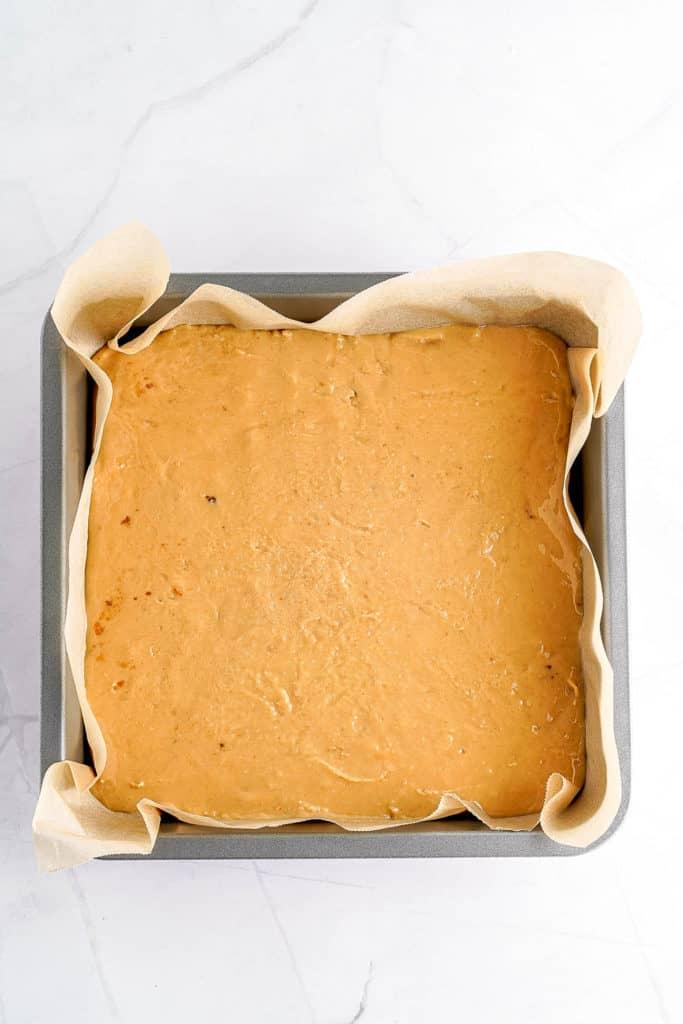fudge added to baking pan