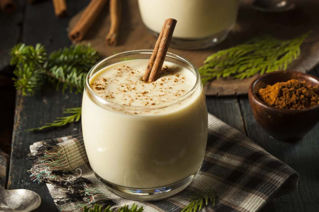 foods that start with e - Homemade White Holiday Eggnog with a Cinnamon Stick