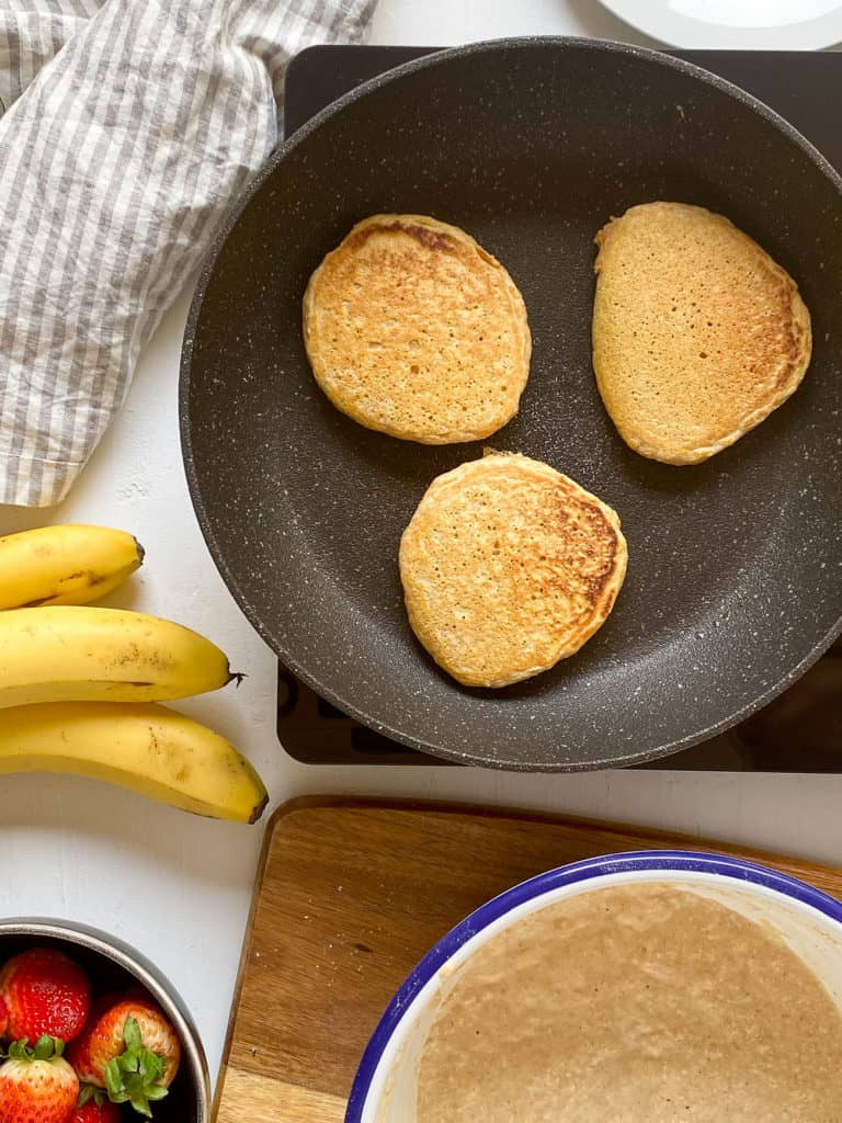pancakes on the griddle pan