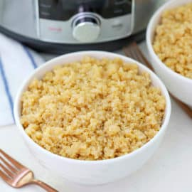 instant pot quinoa in a white bowl